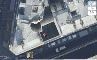 Vue d'avion de la cheminée du 145 rue Lafayette, Paris 10e