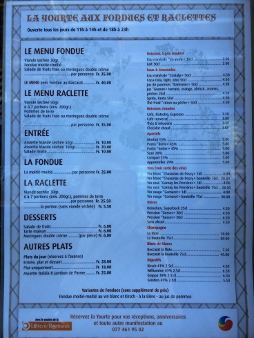 menu yourte aux fondues