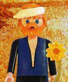"""Autoportrait et """"Les Tournesols"""" associés, interprétation de Vincent Van Gogh Par Richard Unglik"""
