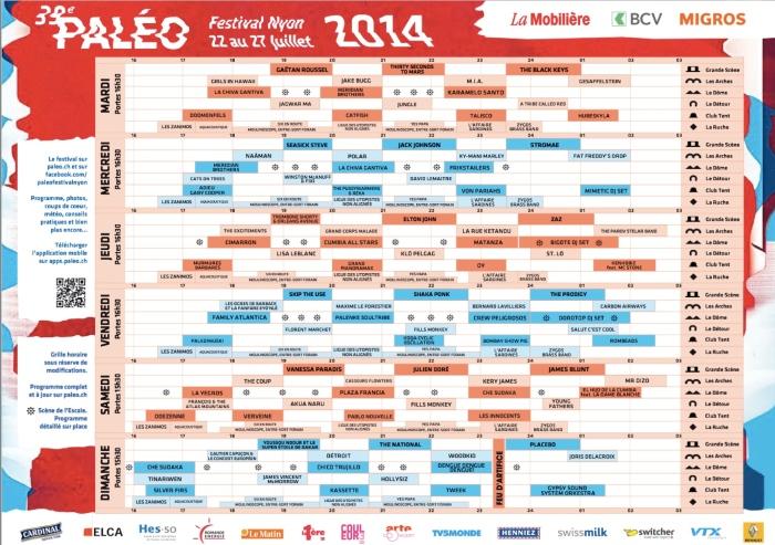 Le programme de Paléo 2014