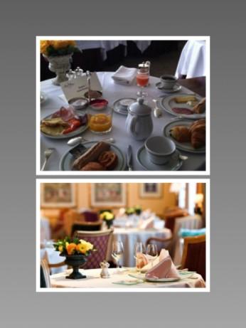 Le Chat Botté, ancienne version, petit déjeuner et ambiance décorative perfectible en salle.